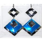 Boucle d'oreille émaux et métal carré bleu