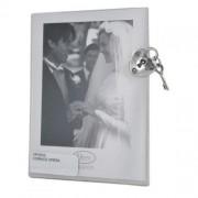 cornice a giorno con dettaglio in argento - cuore e lucchetto - opera collection 6 x 8 cm