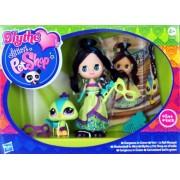 Littlest Pet Shop - 36966 - Blythe Loves LPS - Gorgeous in Green / Blythe y Pet Shop en el baile - Blythe #B44 y Pavo Real #2412