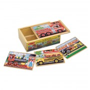 Melissa & Doug Vehicles Jigsaw Puzzles in a Box - Brown