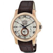 Seiko Brown Leather Round Dial Quartz Watch For Men (SNP096P1)