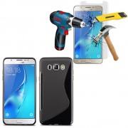 Samsung Galaxy J5 (2016) J510fn/ J510f/ J510g/ J510y/ J510m/ J5 Duos (2016): Coque Etui Housse Pochette Accessoires Silicone Gel Motif S Line + 1 Film De Protection D'écran Verre Trempé - Noir