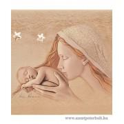 Exkluzív faplakett, ezüst díszítéssel Mária-kis Jézus
