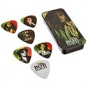 Dunlop BOBPT01M Bob Marley Rasta Pick Tin Assorted Medium 6 Picks/Tin