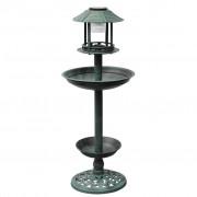 vidaXL Вана за птици с хранилка и соларна лампа