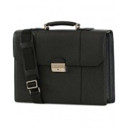 Canali Leather Briefcase Black