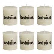 Bolsius rustikální válcové svíčky 80 x 68 mm, slonovinové, 6 ks