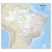 Wandkaart Brazil – Brazilië, 104 x 97 cm   National Geographic