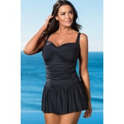 Womens Quayside Woman Twist Skirted Swimsuit - Black