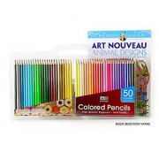 Art Advantage Soft Leads Colored Pencils with Coloring Book and Carrying Case 50-Colors