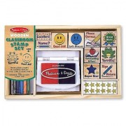 Melissa & Doug Wooden Classroom Stamp Set With 10 Stamps 5 Colored Pencils 4 Sticker Sheets and 2-Colored Stamp Pad