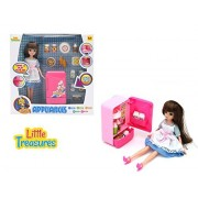 Kitchen Refrigerator Pink Mini Toy Fridge playset for kids with Mom Doll & play food set complete with contents and drawer