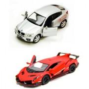 Playking Kinsmart Combo of BMW X6 and Lamborgini Veneno Scale Model Car 5'' Die Cast Metal and Doors Openable Car