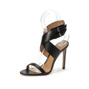 【70%OFF】CECYLY カーフレザー ベルテッド サンダル ブラック 38.5 ファッション > 靴~~レディースシューズ