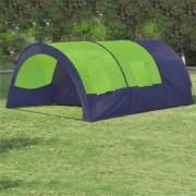 vidaXL Палатка за къмпинг 6 човека от полиестер, синьо и зелено
