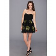 BCBGMAXAZRIA Petite Tia Embroidered Peplum Dress Black Combo