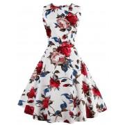rosegal Floral Tea Length Vintage Dress