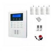 """IP-AP021-4 - безжична GSM аларма за дома с 2.1"""" LCD дисплей, клавиатура, 4 обемни датчика, 1 МУК и 2 дистанционни"""