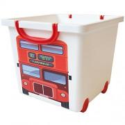 Iris 123304.0 London bus design Storage box per bambini con ruote e manico, 25 litri, colore: Bianco/Rosso