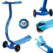 FASCOL® Twist & Roll Patinete 3 ruedas para niños,mini micro patinetes freestyle scooter con Freno individual y PU ruedas in Azul
