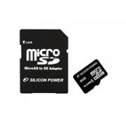 Silicon Power MicroSDHC 8GB + adapter CL4 memóriakártya