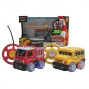 RC Radio Control Toy Truck for Kids with Steering Wheel Remote Lights and Sounds-Truck Varies Fire Engine or School Bus