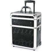 Hairway Kadeřnický kufr na kolečkách Hairway - 3-dílný, černý (vzor 2) (28587) + DÁREK ZDARMA