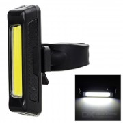 USB Rechargeable 1-LED 60lm 6-Mode White Bicycle Bike Light Lamp - Black + Light Yellow