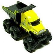 Maisto Fresh Metal Builder Zone Quarry Monster - Yellow Dump Truck - Motorized 6-Wheeler