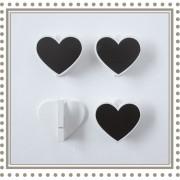 Set 4 pinzas pizarra corazones