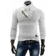 Pánský svetr luxusní vlněny 0568 SHIM.cz s dlouhým rukávem bílý - L