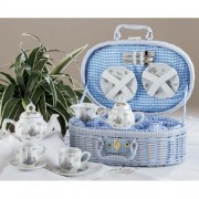 Porcelain Dollies Tea Set for Two/ Basket, Sweet William Design