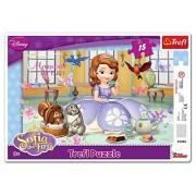 Trefl - 31204 - Cadre de puzzle - Disney Sofia the First - L'heure du thé - 15 Pièces