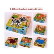 Happy GiftMart 9 Piece Colorful Wooden Block Picture Puzzle For Toddlers, Baby And Small Children (Set of 5 [Animal Style 1 +2, Farm Animal, Insect, Vehicle])