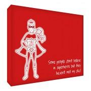 """Feel Good Art Gallery Wrapped-Tela con telaio a illustrativo e di Design, 30 x 40 x 4 cm, misura media, colore: rosso, con scritta: """"Super Dad"""" un bambino)"""