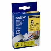 Bandă laminată Brother TZ611, 8m/6mm negru/galben