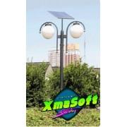 Stalp de iluminat fotovoltaic 40 W LED 5 W X 2 complet echipat