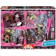 EDUCA 15632 Puzzle Cardboard 4 feluri Monster High 50-80-100-150 bucăţi