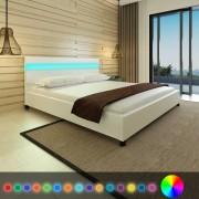 vidaXL Postel s LED podsvícením 200 x 180 cm Umělá kůže Bílá