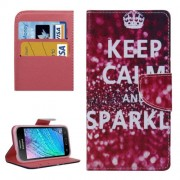 KEEP CALM and SPARKLE Words Pattern Horizontal Flip Leather Case with Holder & Card Slots & Wallet for Samsung Galaxy J2 / J200