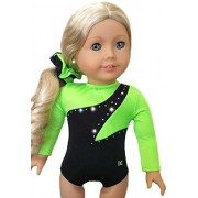 Doll Gymnastics Clothes for American Dolls for Girls Outfit Includes Neon Green and Black Sparkly Dance Olympic Leotard and Hair Accessory USA (2 Piece Set) by Doll Connections