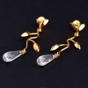 Brinco de Ouro Amarelo com Gotas de Cristal