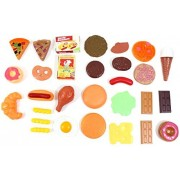 Power Trc Fast Food & Dessert Play Food Cooking Set For Kids 30 Pieces (Burgers, Donuts, Ice Cream, & More)