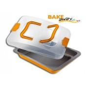 Fuente horno naranja rectangular con tapa