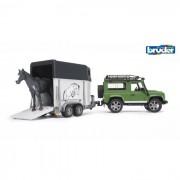 Bruder land rover defender station wagon con rimorchio per cavalli e cavallo 259