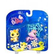 Littlest Pet Shop Happiest Pet Pairs Portable Collectible Gift Set - Sugar Glider (#990) and Purple Spider (#991) with Spider Web by Hasbro