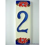 Numero civico ceramica con fiore nf2