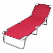 vidaXL Lettino prendisole pieghevole con schienale regolabile rosso