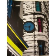 Staples College Ruled Durable Poly Cover Pocket Spiral Notebook ~ Urban Building (100 Sheets, 200 Pages; 2 Pockets)