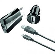 Incarcator Priza UNIVERSAL 3 IN 1 CU INCARCATOR AUTO SI CABLU USB Negru Cellularline